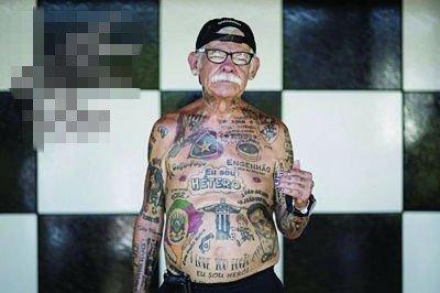 世界杯开幕 老头全身为巴西纹身83处